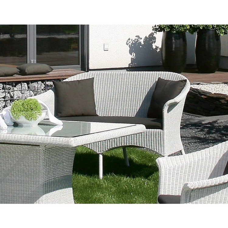 Gartenbank Geflecht Cayman white washed