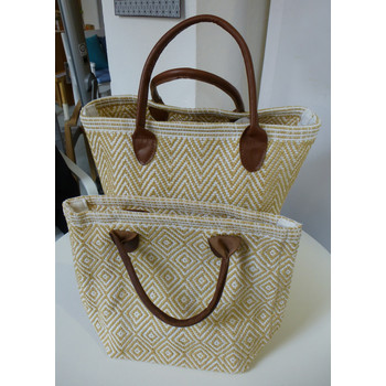 Dash & Albert, Tasche Tote moyen wheat/white